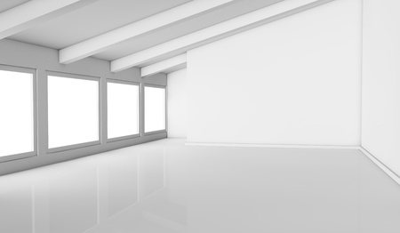 mansard: one empty bright mansard with windows on one side, the room is all white, with a reflective floor and there are no textures or colors (3d render) Stock Photo