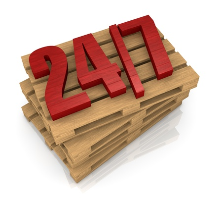one stack of pallets with the 247 on top of them, concept of shipping service (3d render) photo