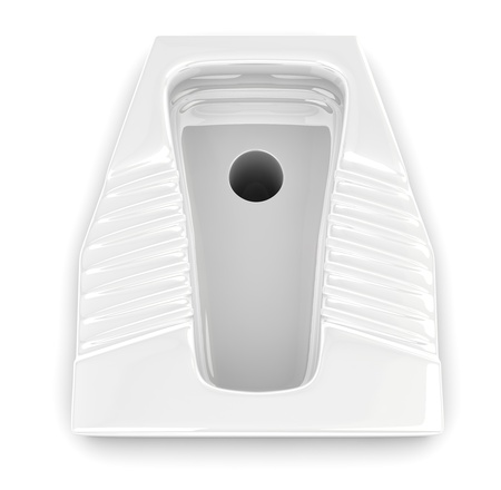 top view of a  urinal ceramic new and clean (3d render) photo