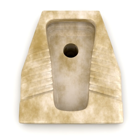 top view of a  urinal ceramic old and dirty (3d render) Stock Photo - 13193171
