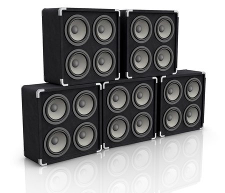 party system: one stack of concerto audio speaker boxes (3d render) Stock Photo