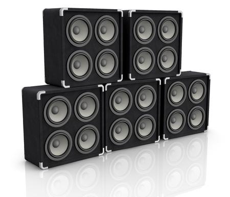 concerto: una pila de cajas de altavoces de audio de concierto (3d)