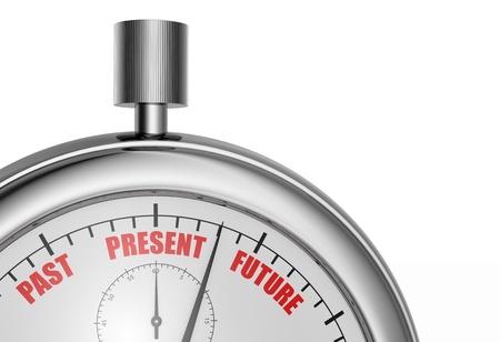 cronologia: vista de cerca de un cronómetro con las palabras: pasado, presente y futuro (render 3d)