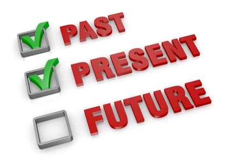 unchecked: the words: past present and future with check boxes and green marks. the future is unchecked (3d render)