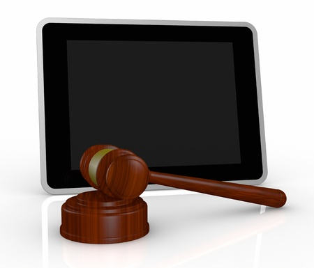 online auction: one tablet pc with a gavel, a concept of online auction or cyber crime (3d render)