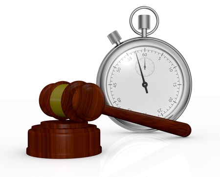 end of time: one gavel, like those used on auctioning and a stopwatch, a concept of end time of an auction (3d render) Stock Photo
