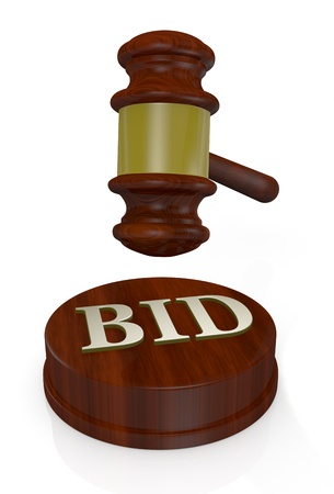 front view of a gavel, like those used on auctioning with the word bid (3d render) photo