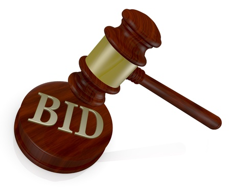 one gavel, like those used on auctioning with the word bid (3d render) photo