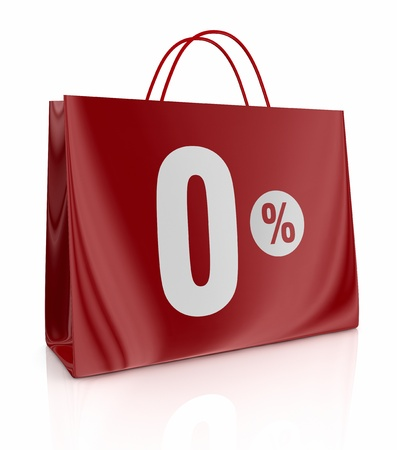 one shopping bag with the number zero and the percent symbol (3d render) photo