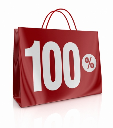 one shopping bag with the number one hundred and the percent symbol (3d render) photo