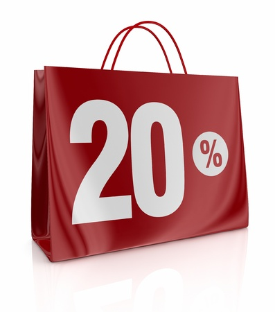 one shopping bag with the number twenty and the percent symbol (3d render)