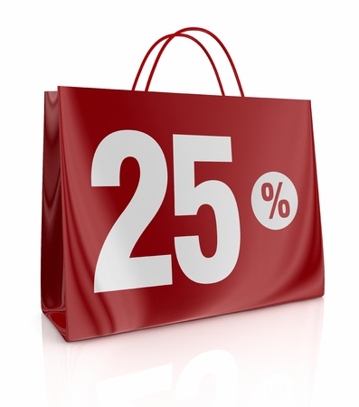 one shopping bag with the number twenty five and the percent symbol (3d render) photo