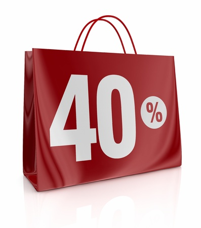 one shopping bag with the number forty and the percent symbol (3d render) Stock Photo