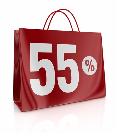 one shopping bag with the number fifty five and the percent symbol (3d render) photo
