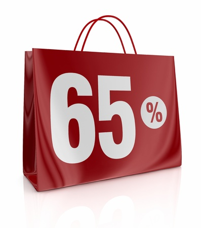 one shopping bag with the number sixty five and the percent symbol (3d render) Stock Photo - 13193192