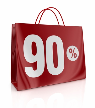 ninety: one shopping bag with the number ninety and the percent symbol (3d render)