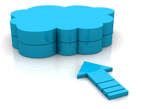 one arrow pointing toward a cloud. concept of  working with online data (3d render) Stock Photo - 13409622