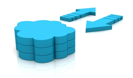 virtual server: two arrows in different direction and a stack of clouds. concept of  working with online data, known as cloud computing (3d render)