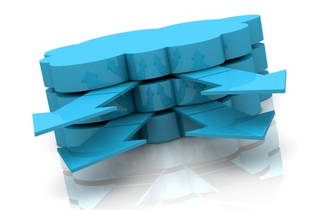 virtual server: one stack of clouds with arrows that go out, concept of cloud computing (3d render) Stock Photo