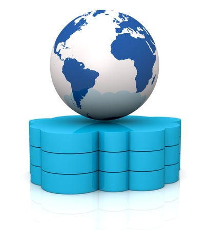 one stack of clouds with a world globe over it, concept of cloud computing and global access of data(3d render) Stock Photo - 13409631
