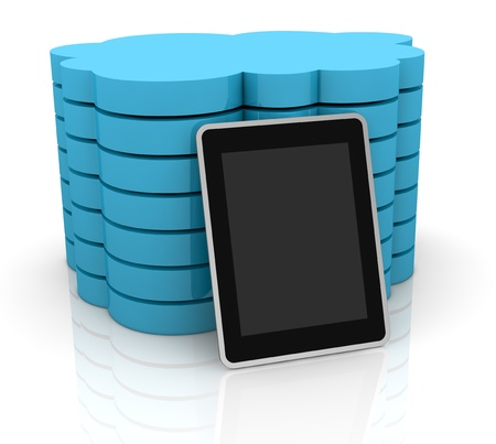 one stack of clouds with a tablet pc, concept of cloud computing and global access of data(3d render) photo