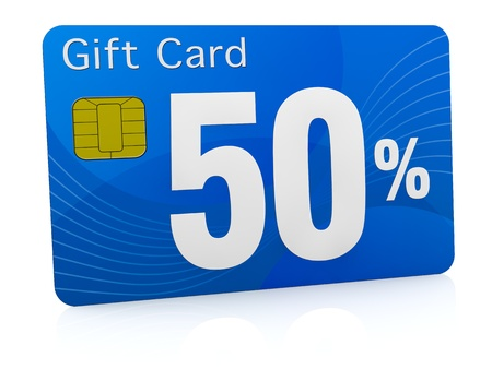 one gift card with the number fifty and percent symbol (3d render) photo
