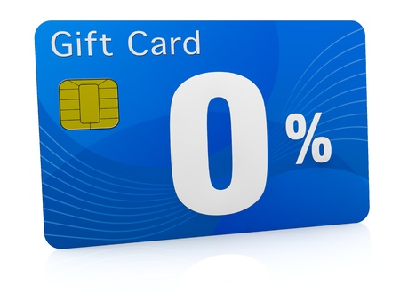 one gift card with the number zero and percent symbol (3d render) photo