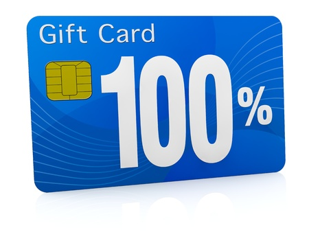 one gift card with the number one hundred and percent symbol (3d render) photo