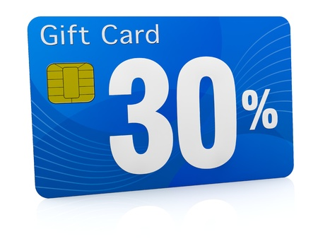 one gift card with the number thirty and percent symbol (3d render) photo