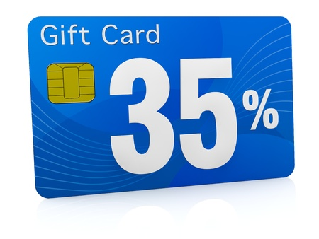 one gift card with the number thirty five and percent symbol (3d render) photo