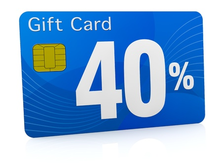 one gift card with the number forty and percent symbol (3d render) photo