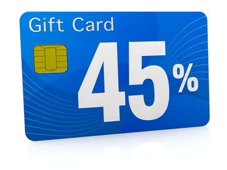one gift card with the number forty five and percent symbol (3d render) photo