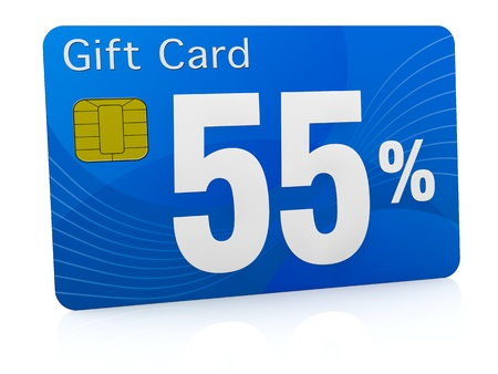 one gift card with the number fifty five and percent symbol (3d render) photo