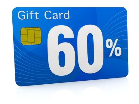 one gift card with the number sixty and percent symbol (3d render) photo