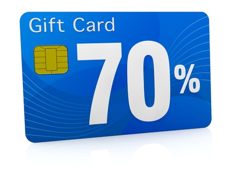 one gift card with the number seventy and percent symbol (3d render) photo