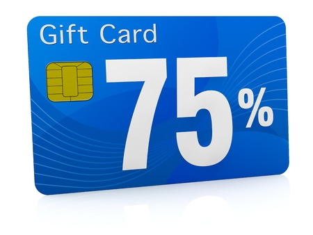 rebate: one gift card with the number seventy five and percent symbol (3d render) Stock Photo