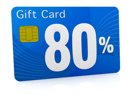 eighty: one gift card with the number eighty and percent symbol (3d render)
