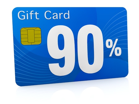 one gift card with the number ninety and percent symbol (3d render) photo