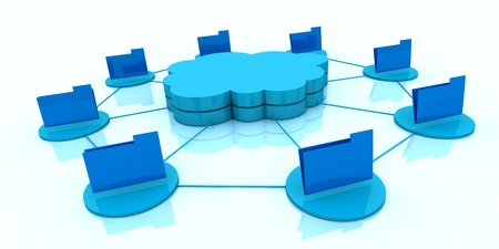 one stack of clouds with several folders around it and connected each other, concept of cloud computing and global access of data (3d render) Stock Photo - 13409630