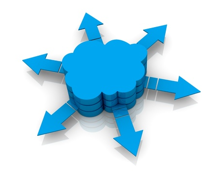 one stack of clouds with arrows that go out, concept of cloud computing (3d render) Stock Photo - 13409612
