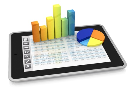 one tablet pc with a buttons interface, that shows a spreadsheet. there are two charts over the display  (3d render) photo