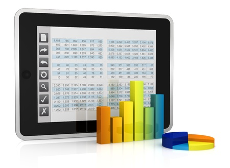 spreadsheets: one tablet pc with a buttons interface, that shows a spreadsheet. there are two charts in front of it  (3d render)