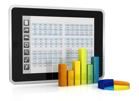 hoja de calculo: un Tablet PC con una interfaz de botones, que muestra una hoja de c�lculo. hay dos cartas en frente de �l (3d)
