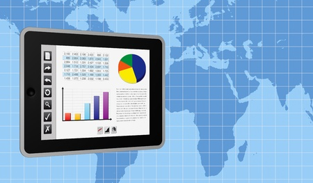 one tablet pc with a buttons interface, that shows a spreadsheet and charts. there is a world map with a grid on background (3d render) photo