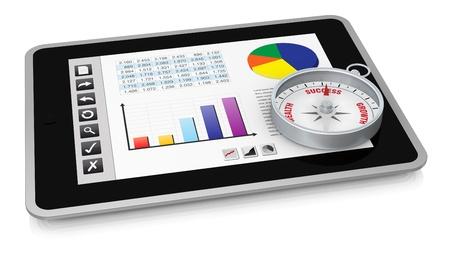 스프레드 시트: 버튼 인터페이스를 하나의 태블릿 PC, 즉 스프레드 시트를 보여줍니다. 디스플레이에 나침반이 (3d 렌더링)