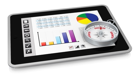 online trading: one tablet pc with a buttons interface, that shows a spreadsheet. there is a compass over the display  (3d render)