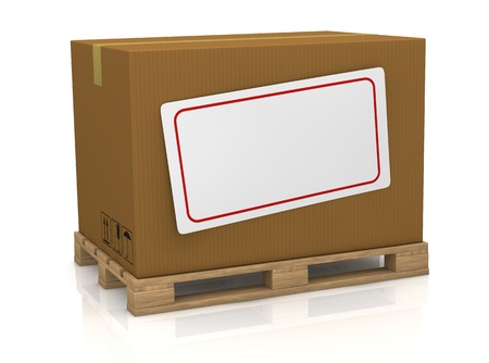 one carton box over a pallet, with a white label for custom text (3d render) Stock Photo - 13541477