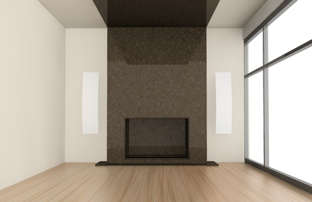 one living room with a big fireplace (3d render) photo
