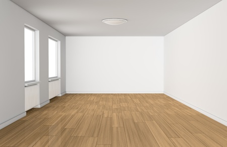 one empty room with two windows and a wooden floor (3d render) Stock Photo - 13541482