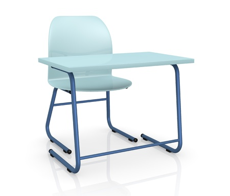 study table: one school desk with a chair on white background (3d render)